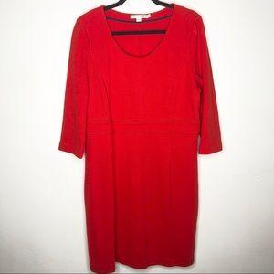 Boden orangey red shift dress